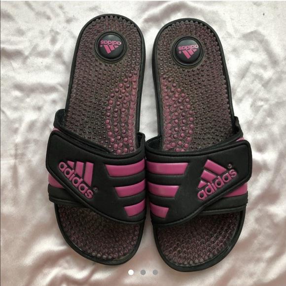 adidas Shoes | Pink Black Slides | Poshmark